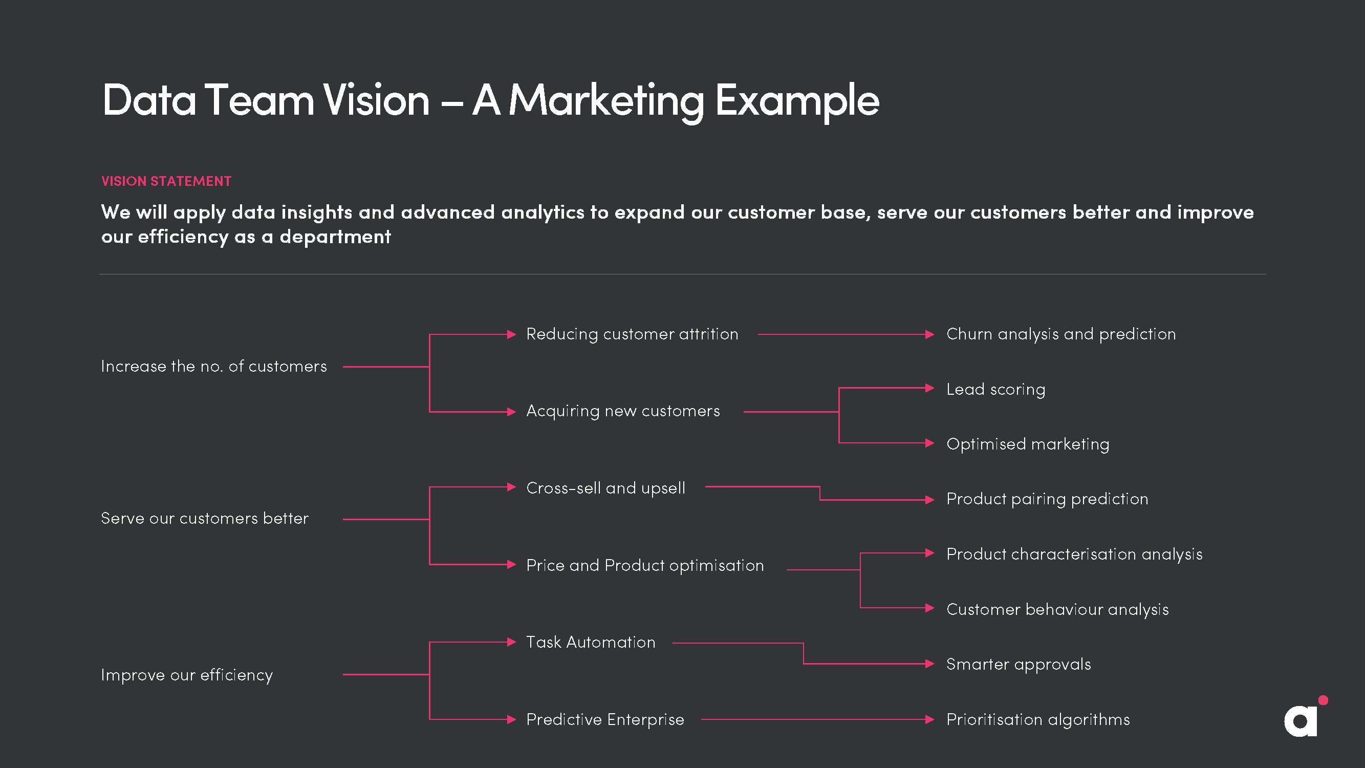 Data Team Vision - an example from marketing